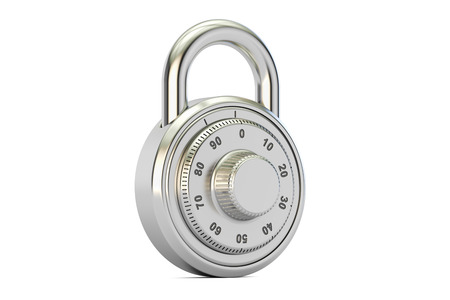 safest: combination padlock, 3D rendering isolated on white background