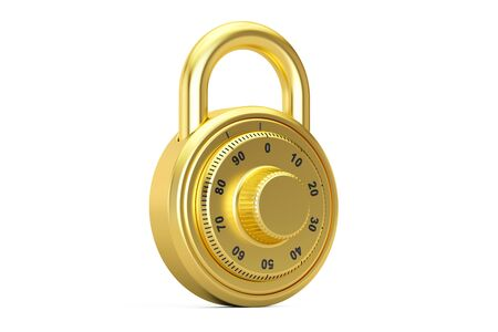 safest: golden combination padlock, 3D rendering isolated on white background Stock Photo
