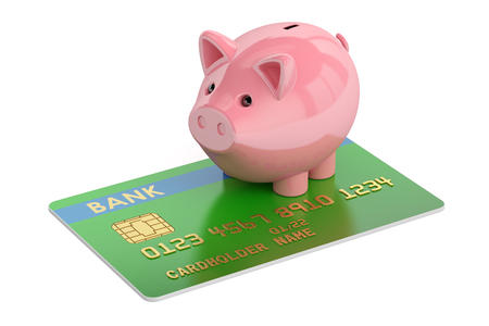 Credit card with Piggy Bank, 3D rendering  isolated on white background