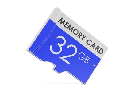memory card 32GB, 3D rendering isolated on white background Stock Photo
