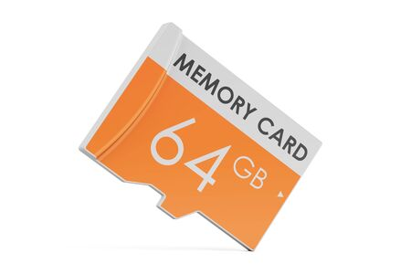 memory card 64 GB, 3D rendering isolated on white background