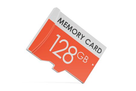 memory card 128 GB, 3D rendering isolated on white background