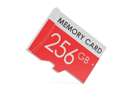 memory card 256 GB, 3D rendering isolated on white background