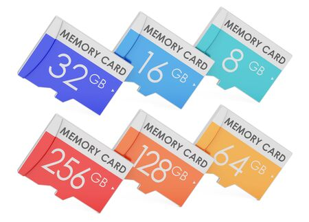 set of memory cards, 3D rendering isolated on white background Stock Photo