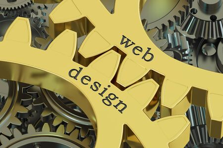 Web Design concept on the gearwheels, 3D rendering