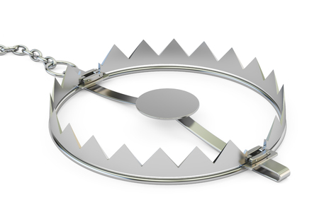 bear trap: empty bear trap, 3D rendering isolated on white background