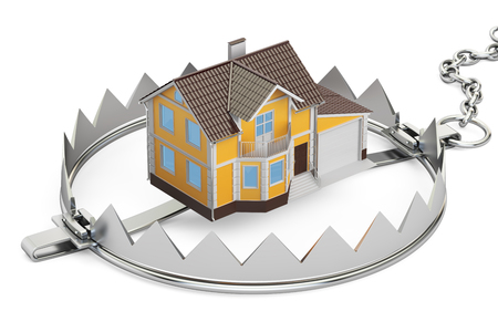 bear trap: House In Bear Trap, 3D rendering  isolated on white background