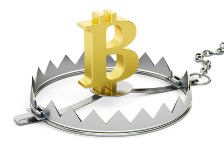 bear trap: money trap with bitcoin sign, 3D rendering isolated on white background