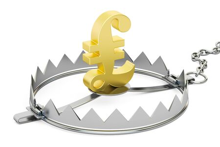 bear trap: money trap with symbol of pound sterling, 3D rendering isolated on white background