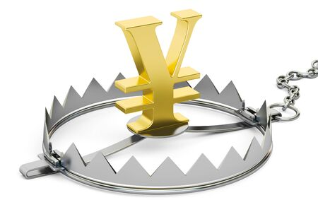 bear trap: money trap with yen or yuan sign, 3D rendering isolated on white background