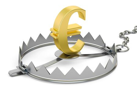 bear trap: money trap with euro sign, 3D rendering isolated on white background