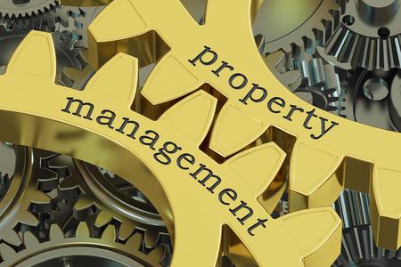 Property Management-Konzept an den Zahnrädern, 3D-Rendering Standard-Bild - 72690657