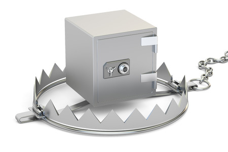 bear trap: trap with safe box, 3D rendering isolated on white background Stock Photo