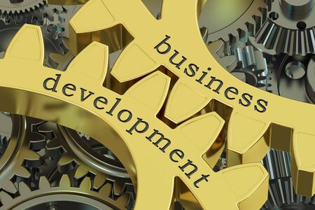 weaknesses: Business Development concept on the gears, 3D rendering Stock Photo