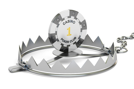bear trap: Gambling Addiction concept. Trap with gaming casino chip, 3D rendering