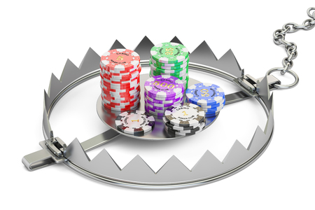 bear trap: Gambling Addiction concept. Trap with gaming casino chips, 3D rendering