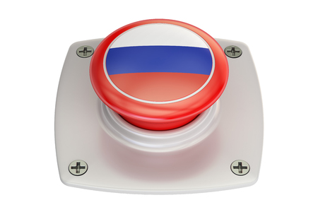 Russia flag push button, 3D rendering Stock Photo
