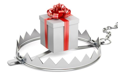 bear trap: trap with gift box, 3D rendering isolated on white background