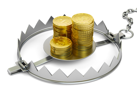 bear trap: Credit trap with golden coins, 3D rendering isolated on white background