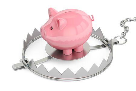 bear trap: Credit trap with piggy bank, 3D rendering isolated on white background