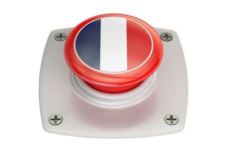 France flag push button, 3D rendering