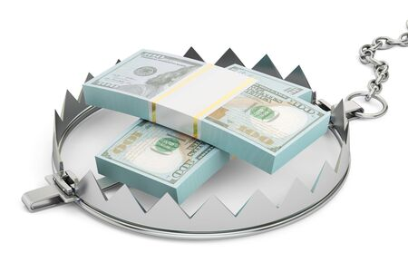 bear trap: money trap with packs of dollars, 3D rendering isolated on white background