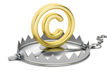 bear trap: Trap with copyright symbol, 3D rendering Stock Photo