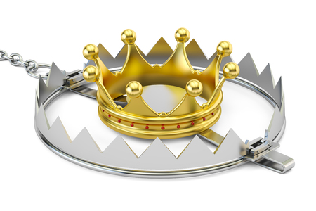 trapped: Trap with golden crown, 3D rendering isolated on white background