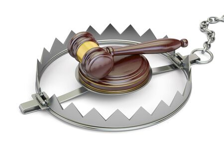 bear trap: Trap with wooden gavel, 3D rendering isolated on white background Stock Photo