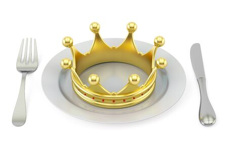 kingly: Golden crown on a plate with fork and knife. Royal cuisine concept. 3D rendering isolated on white background