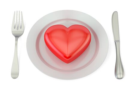 Red heart on a plate with fork and knife. Valentines day concept, 3D rendering isolated on white background Standard-Bild
