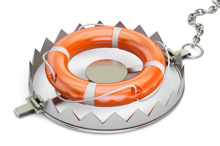 bear trap: trap with lifebelt, 3D rendering Stock Photo