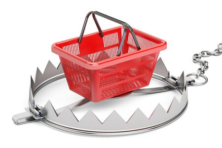 bear trap: trap with shopping basket, 3D rendering isolated on white background Stock Photo