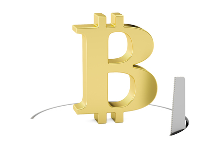 Bitcoin sign with cutting saw. Financial risk concept, 3D rendering isolated on white background Stock Photo
