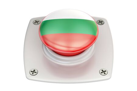 Bulgaria flag push button, 3D rendering Stock Photo