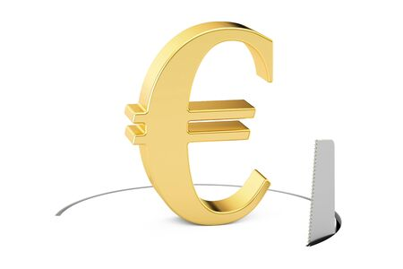 Euro currency symbol with cutting saw. Financial risk concept, 3D rendering isolated on white background