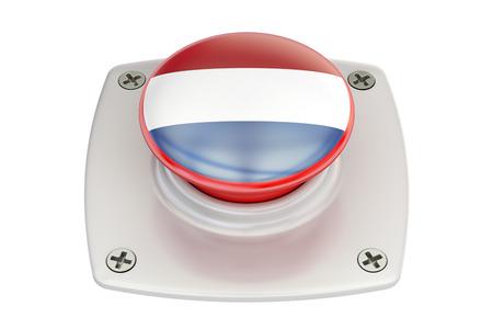 Netherlands flag push button, 3D rendering