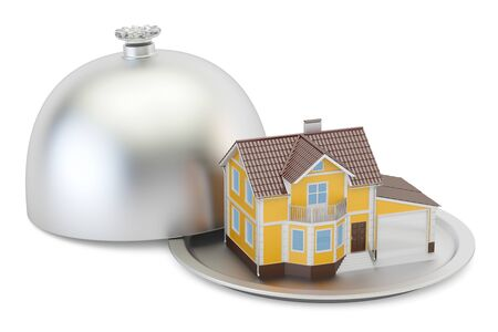 apartment bell: Restaurant cloche with house, 3D rendering Stock Photo