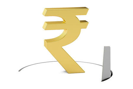 Rupee sign with cutting saw. Financial risk concept, 3D rendering isolated on white background