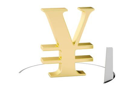 Yen or yuan symbol with cutting saw. Financial risk concept, 3D rendering isolated on white background