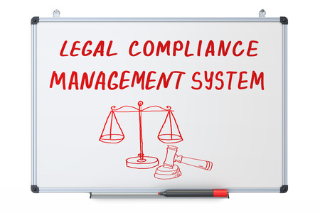 dry erase board: legal compliance, management system concept on the dry erase board, 3D rendering Stock Photo