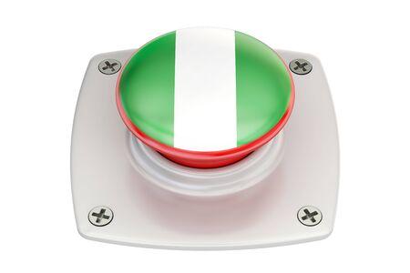 Nigeria flag push button, 3D rendering Stock Photo