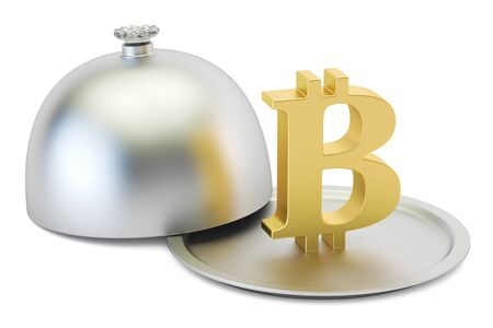 Restaurant cloche with gold bitcoin symbol, 3D rendering