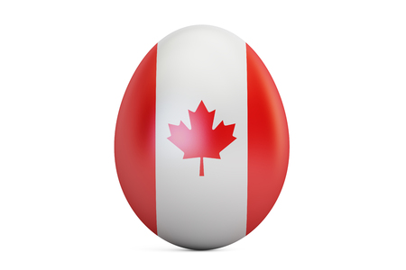 Easter egg with flag of Canada, 3D rendering