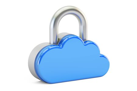 Computing Cloud Padlock. Security and protection concept, 3D rendering isolated on white background