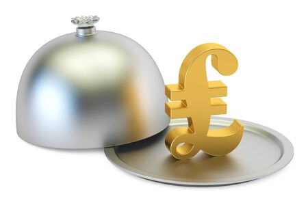 Restaurant cloche with gold pound sterling symbol, 3D rendering Stock Photo