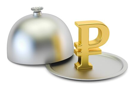 Restaurant cloche with gold ruble symbol, 3D rendering Stock Photo