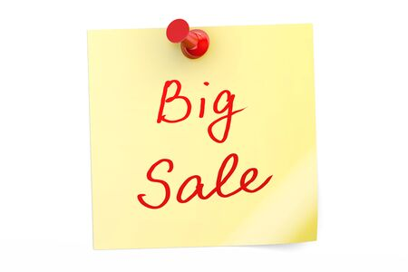 Big Sale text on a sticky note, 3D rendering