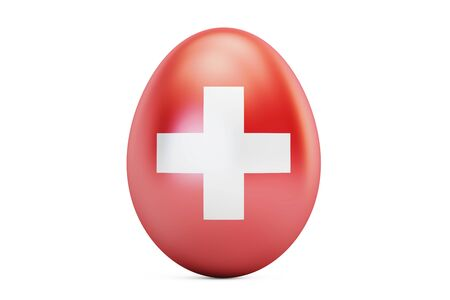 Easter egg with flag of Switzerland, 3D rendering Stock Photo