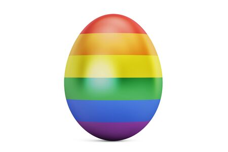 sexual orientation: Easter egg with rainbow gay flag, 3D rendering Stock Photo